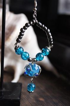 bombaybead | Products | Earrings | Cerulean Blue Lampwork Hoop