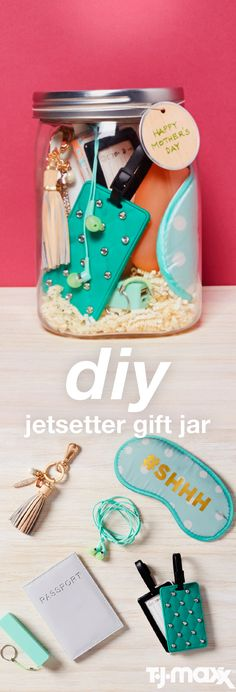 Gift IDEAS: Fill an over-sized jar with items to take on vacation, like luggage tags, a sleep mask and noise-canceling earbuds. Vacation Gift Basket, Creative Gifts, Cool Gifts, Just In Case, Just For You, Diy And Crafts, Arts And Crafts, Jar Gifts, Homemade Gifts