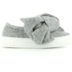 Joshua Sanders Grey Felt Slip-on ($270) ❤ liked on Polyvore featuring shoes, flats, grey, bow shoes, rubber sole shoes, bow flats, grey flats and felt shoes