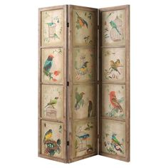 Add an artful touch to your living room or master suite with this rustic room divider, showcasing a botanical-inspired bird motif.  ...