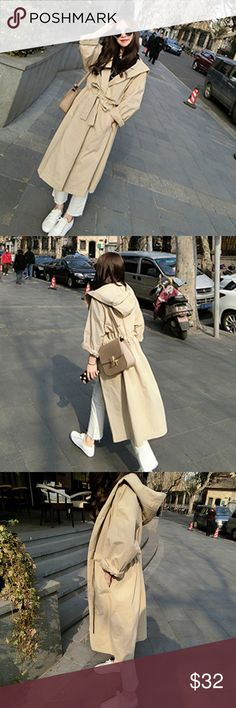 Trench Hoodie Trench Hoodie Coat,  Casual Loose and Trendy! Bust: 37 inch Jackets & Coats Trench Coats