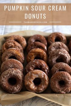 Pumpkin Sour Cream Donuts- the perfect decadent fall treat! spice Pumpkin Sour Cream Donuts- the perfect decadent fall treat! Pumpkin Donuts Recipe, Pumpkin Recipes, Fall Recipes, Donut Recipes, Dessert Recipes, Pastry Recipes, Fall Desserts, Coffee Recipes, Baking Recipes