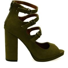 Ellie-16 Khaki Buckle Detail Zipper Back Chunky Heels ($22) ❤ liked on Polyvore featuring shoes, sandals, buckle sandals, buckle shoes, wide heel shoes, thick heel shoes and back zip sandals