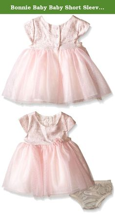 Bonnie Baby Baby Short Sleeve Jacquard To Tulle Dress, Pink, 0-3 Months. Jacquard bodice to tulle ballerina skirt party dress.