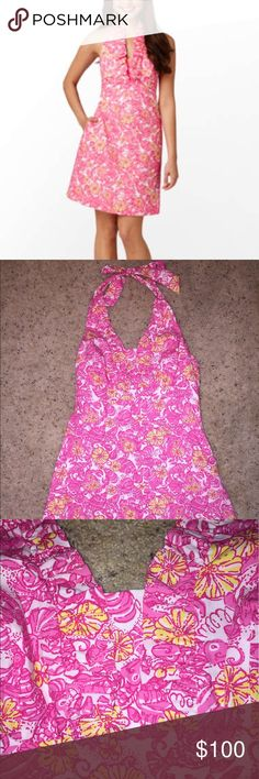 NWOT Lilly Pulitzer Lanvin Halter Dress Resort white chum bucket, this fun, flirty dress has an empire waist with a ladylike ruffle. It has only been tried on So condition is PERFECT Lilly Pulitzer Dresses
