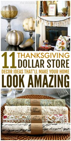 These 11 Dollar Store Thanksgiving Decor Hacks are amazing! These home decor ideas are super easy, budget-friendly and won't consume too much of your time! Now you know great ways to decorate your home on a budget with ease this holiday season! (Click here for tutorials!) #holidaydecor #thanksgivingdecor #dollarstore #diy