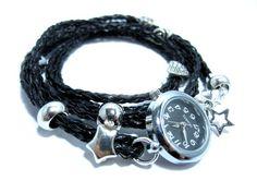 Armbanduhr mit  Wickelarmband  - Wickeluhr von HANDMADE auf DaWanda.com