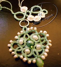 tatted pendant with beads