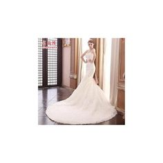 MSSBridal Strapless Mermaid Wedding Gown with Train ($270) ❤ liked on Polyvore featuring dresses, wedding dresses and women