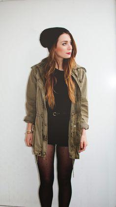 Shorts and Tights - grunge chic militari jacket, outfit, shorts and tights, hat