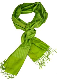 Scarf, made from fine silk. Colours: various greens. Cotton Scarf, Silk Scarves, Scarf Styles, Cambodia, Hand Weaving, Colours, Prints, Handmade, Hand Knitting