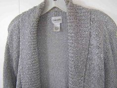 Chico's Size 3 L 16/18 Cotton Blend Open Loose Knit Thick Gray Cardigan Sweater #Chicos #Cardigan