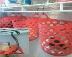 Use dollar store handle baskets and S hooks to add easy storage for small items like mittens, socks and tights!   diyenergy - Closet Organization Ideas and Space Saving Hacks