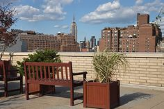 The roofdeck of Rockrose's 100 Jane Street apartments in the West Village.  This handsome building with an on-site fitness center and glorious rooftop deck sits at the intersection between the West Village and Meatpacking District. #Manhattan #NYC