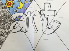 Third, Fourth, and Fifth graders are all diving right into the Elements of Art whether in review or in depth. Fourth grade is reviewing with an all in one composition. We wrote 'ART' in block...