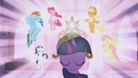 The ponies activating the Elements of Harmony.  (My Little Pony: Friendship is Magic Season 1, Episode #2: Friendship is Magic Part 2)