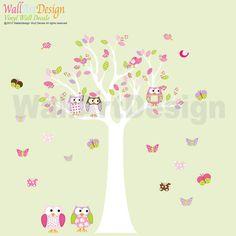 Custom Listing Vinyl Wall Decal Stickers Owl Tree Set Nursery Girls Baby on Etsy, £73.04
