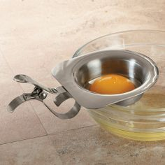 Egg Separator\nSeparate whites from yolks hands-free with this clip-on egg separator.