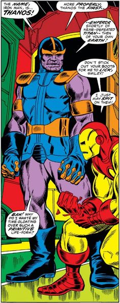 Thanos first ever debut on Marvel Comics. It will be just a robot clone for Iron Man but the look is near the most recent versions of the titan - Iron Man Marvel Villains, Marvel Comics, Marvel Dc, Captain Marvel, Harley Quinn, Goku, Thanos Iron Man, City hunter, Jim Starlin