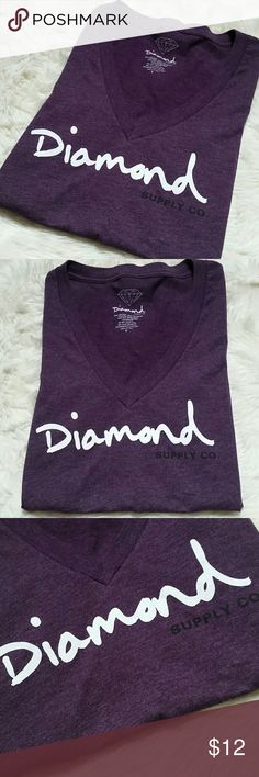 """Diamond Supply Co V Neck Tee Shirt Size Small Diamond Supply Co V Neck Tee Shirt Size Small. Purple with white & black logo. Super soft and stretchy 50/50 blend of 50% cotton & 50% polyester. The back is solid. Preowned in good condition with no rips, holes, tears or stains.   Pit to Pit 16.5"""" Top of shoulder to bottom hem 24"""" Diamond Supply Co. Tops Tees - Short Sleeve"""