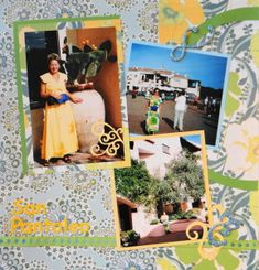 Cruise scrapbook page with Yellow Flourishes from Cricut's Storybook