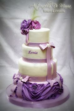…another ruffle combination with bows and fancy peonies in lilac/lavender shades Wedding Cake Roses, Wedding Cakes With Cupcakes, Beautiful Wedding Cakes, Beautiful Cakes, Amazing Cakes, Cupcake Cakes, Violet Cakes, Cakes For Women, Just Cakes