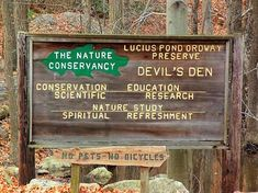 Devil's Den is a acre nature preserve with a trail system through extensive woodlands, wetlands and rock ledges offering views from a series of north-south ridges. Its a destination place for hiking and bird watching. Thing 1, North South, Nature Study, Bird Watching, Connecticut, Wonderful Places, New England, Acre, Woods