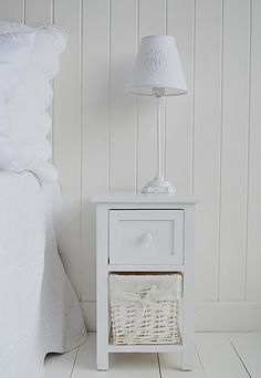 The White Lighthouse Bedroom Furniture Wide Bar Harbor Small Narrow Bedside Table With Basket Drawer And Wooden For Storage