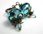 Victorian Style Dusty Rose Czech Glass Antiqued Brass Dangle Earrings, Womens Accessories, Teardrop Earrings, Linen, Prom. $22.50, via Etsy.