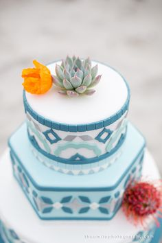 Styled Unveiled Shoot- Wedding Cake topped with a succulent