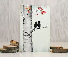 Custom Wedding Gift Decor Rustic Pallet Art Affordable Original Paintings Love Bird Painting Aspen tree Painting Birch tree Painting Personalized Wedding Gift for Couple Mint and Coral Wedding Gift  Made and Ready to Ship!  Aspen / Birch Love Birds on Wood Painted on MDF left over from a previous project This simplistic, rustic painting of two birds resting in a tree together will add rustic character to any room and would make a sweet wedding or anniversary gift. ****To personalize this…
