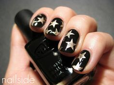 Gold stars on black