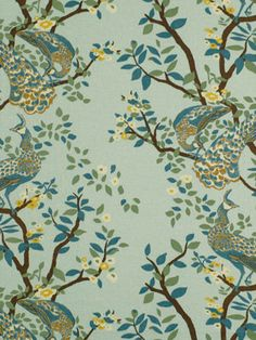 Bird Fabric  Aqua Upholstery Fabric with Bird by greenapplefabrics, $69.00