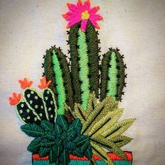 Hasil gambar untuk bordado mexicano paso a paso Cactus Embroidery, Learn Embroidery, Silk Ribbon Embroidery, Hand Embroidery Designs, Embroidery Stitches, Embroidery Patterns, Cactus Craft, Embroidered Cushions, Cactus Flower