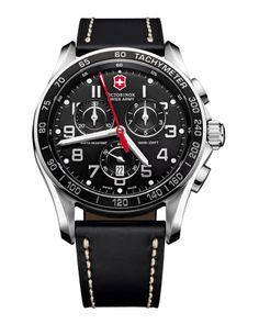 Classic+Chronograph+Leather+Watch,+Black++by+Victorinox+Swiss+Army+at+Neiman+Marcus.