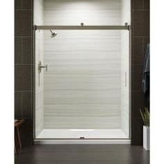 KOHLER Levity 59 in. x 74 in. Semi-Frameless Sliding Shower Door in Nickel with - The Home Depot KOHLER Levity 59 in. x 74 in. Semi-Frameless Sliding Shower Door in Nickel with Handle Roller Design, Frameless Sliding Shower Doors, Contemporary Baths, Contemporary Style, Shower Screen, Shower Enclosure, Shower Stalls, Glass Shower, Modern Minimalist