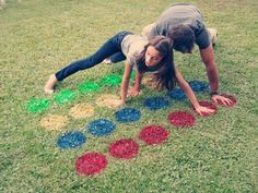 "LAWN TWISTER: Cardboard, Craft knife, 10"" round pan, pen, Red, Blue, Yellow, & Green Rustoleum 2X spray paint, old Twister spinner (Garage sale/Dollar Store), • Cut grass; board will grow out in 2 weeks. Make stencil. Paint 4 columns of 6 circles: Red, Blue, Yellow, & Green. See photo. Let dry. Have fun playing TWISTER."