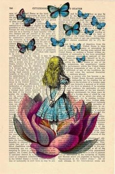 Alice in wonderland Alice in Prrintland Looking for a pink butterfly - Alice in Wonderland Collage Print on Vintage Dictionary Book art. Lots of Alice In Wonderland Prints Disney Kunst, Disney Art, Pink Butterfly, Lotus Flower, Book Art, Art Projects, Art Drawings, Art Photography, Artsy