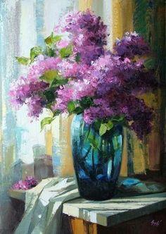 Lilacs in Teal Glass Vase Artist: