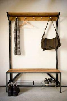 Coat Rack Bench - Bespoke, handmade furniture from English Oak Coat And Shoe Rack, Coat Rack Bench, Diy Coat Rack, Woodworking Jointer, Woodworking Equipment, Woodworking Plans, Organizing Your Home, Home Organization, Vintage Coat Rack