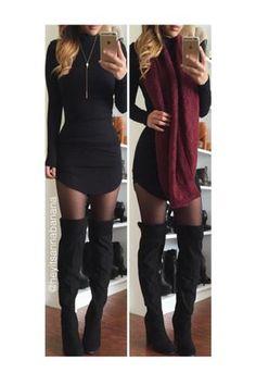 Mock Neck Bodycon Dress - Black
