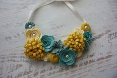 Wool Felt Flower Bib Necklace - Light Mustard Yellow, Aquas and Cream - Open Tieback