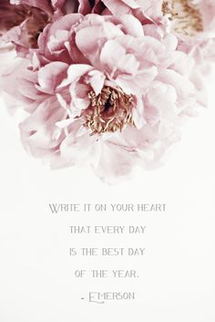 Write it on your heart that every day is the best day of the year -Emerson © Natasha Calhoun via Beautifully, Suddenly: Right-o, 2014.