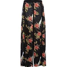 River Island Black oriental print split panel maxi skirt found on Polyvore