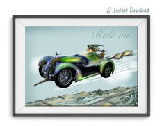 Wall art printable.A witch driving a broom/car with by warblerArt