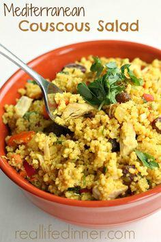 Mediterranean Couscous Salad. Bursting with flavor. Best Salad EVER!!! | reallifedinner.com