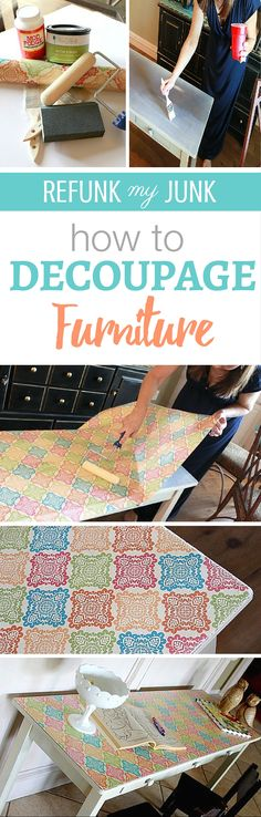 diy furniture easy How to decoupage furniture! Easy steps to use mod podge to add wrapping paper or scrap paper prints to your DIY furniture project! Great for inside drawers too! More painted furniture ideas by Refunk my Junk Refurbished Furniture, Repurposed Furniture, Painted Furniture, Bedroom Furniture, Diy Bedroom, Vintage Furniture, Trendy Bedroom, Bedroom Kids, Kids Room