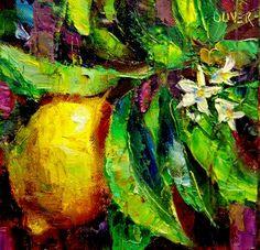 Lemon & Leaves, painting by artist Julie Ford Oliver
