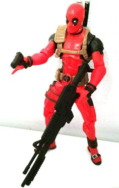 DEADPOOL RED VARIANT 3 w/CUSTOM WEAPONS • C8-9 • MARVEL UNIVERSE HASBRO #MarvelToys