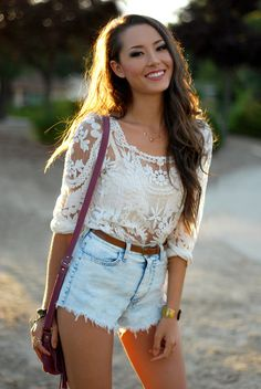 Stelly lace top, OohLaLuxe shorts, Cut N Paste bag, Meredith Hahn necklace, Rings and Tings bracelet, (old) Kiwilook Floral heels [similar], Victoria's Secret bralette (under)